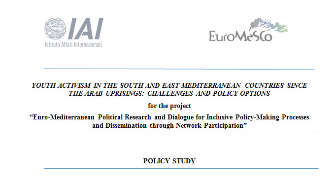 Photo of POLICY STUDY: YOUTH ACTIVISM IN THE SOUTH AND EAST MEDITERRANEAN COUNTRIES SINCE THE ARAB UPRISINGS: CHALLENGES AND POLICY OPTIONS