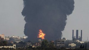 Smoke rises in the central Gaza Strip