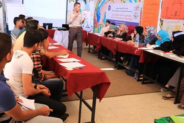 """صورة تنفيذ لقاءين في خانيونس ورفح ضمن مشروع """"تعزيز التثقيف الديمقراطي"""""""