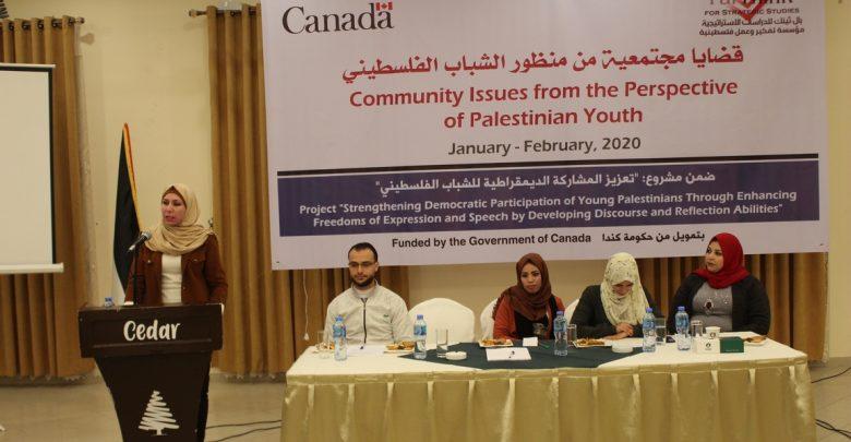 """صورة جلسة نقاش بعنوان """" قضايا مجتمعية من منظور الشباب الفلسطيني"""""""