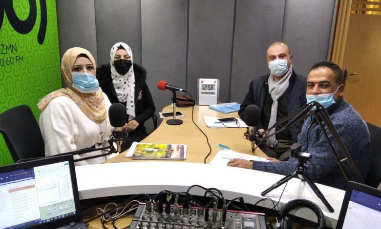 """صورة حلقة إذاعة تناقش ورقة بحثية بعنوان """"دمج وتمكين النساء ذوات الإعاقة في المجتمع الفلسطيني""""."""